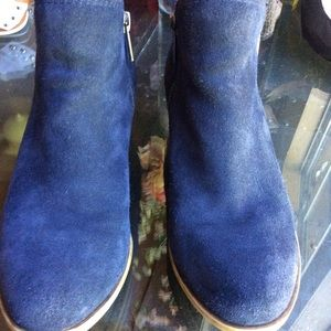 Lucky Brand Blue Suede Ankle Boots Size 6.5